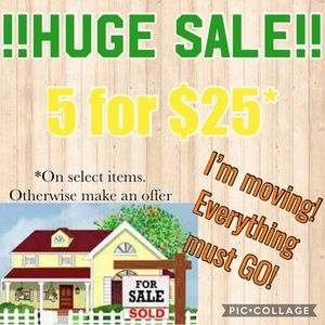 Moving sale! 5 for $25!!